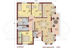 Könnyűszerkezetes családi ház alaprajz Zala ház